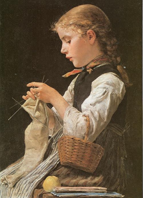 """Albert Anker: """"Strickendes Mädchen"""" von 1884, Quelle: Wikimedia Commons"""
