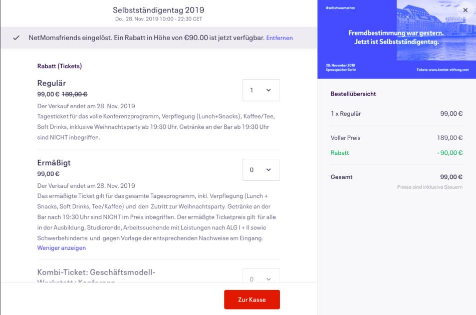 Rabattcode für dein Ticket zum Selbstständigentag 2019